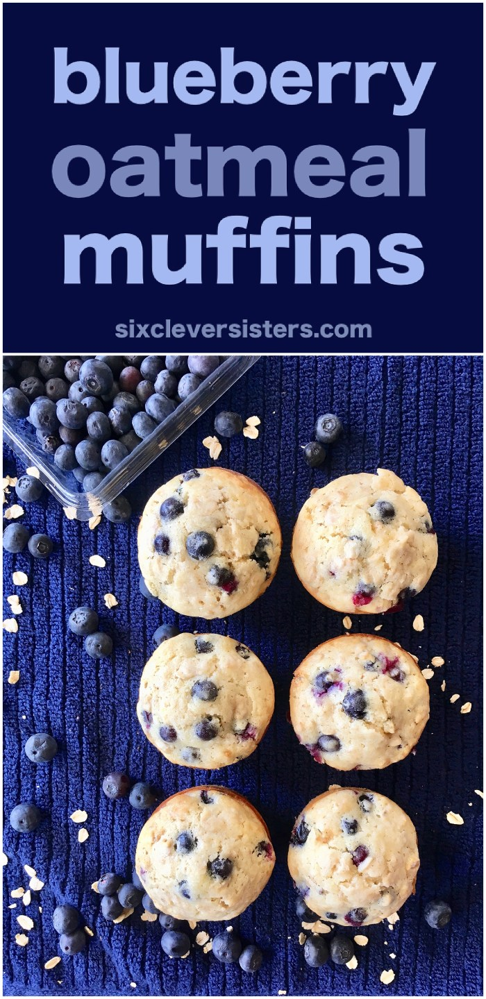 Blueberry Oatmeal Muffins | Healthy | Easy | Lactation | Recipes | Moist | Best | Muffin Recipe | Oatmeal Recipe | Breakfast Muffins | Breakfast Recipes | Freezer Meals | Six Clever Sisters