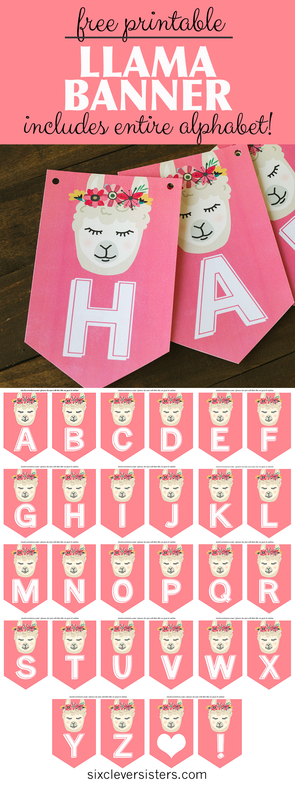 image regarding Llama Printable referred to as Llama Banner Free of charge Printable - 6 Wise Sisters