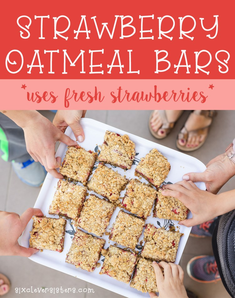 Strawberry Oatmeal Bars Recipe | Oatmeal Recipes | Strawberry Recipes | Strawberry Oatmeal | Strawberry Oatmeal Bars Easy | Recipe on the Six Clever Sisters blog!