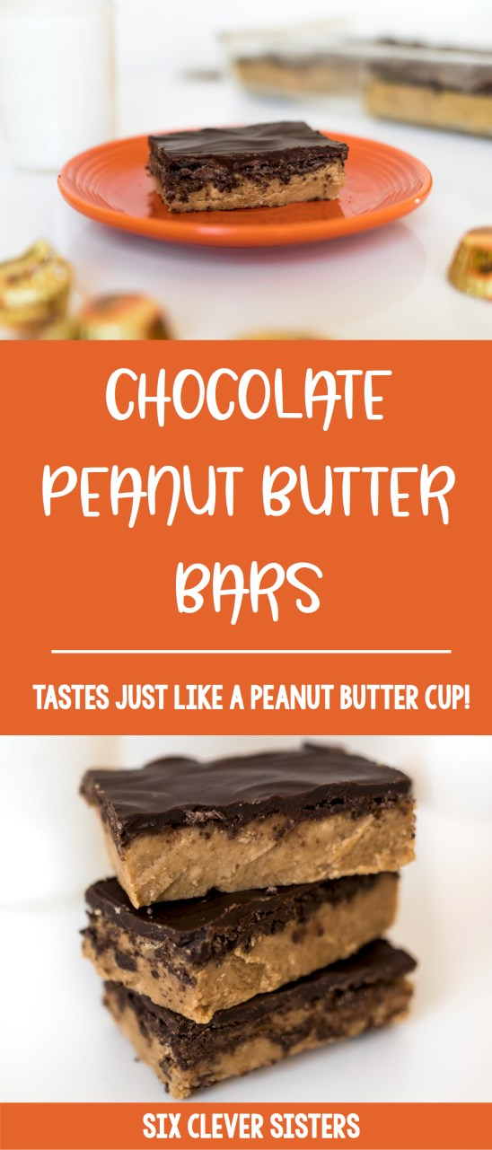 Chocolate Peanut Butter Bars | Reese's Bars Recipe | No Bake Dessert Recipe | No Bake Dessert Bars | Reese Cup Bar Recipe | Reese's Dessert Bars Recipe | Reese's Peanut Butter Bars Recipe No Bake | Recipe for Reese's Bars | Reese's Peanut Butter Bars Recipe | Homemade Reese's Bars Recipe | Love a Reese peanut butter cup? You'll love our no-bake, homemade chocolate peanut butter bar recipe that uses just 5 ingredients and can be made in 5 minutes! It tastes just like a Reese peanut butter cup! #pb #peanutbutter #peanutbutterdesserts #recipe #reesesdessert #nobakedesserts #chocolate #sixcleversisters