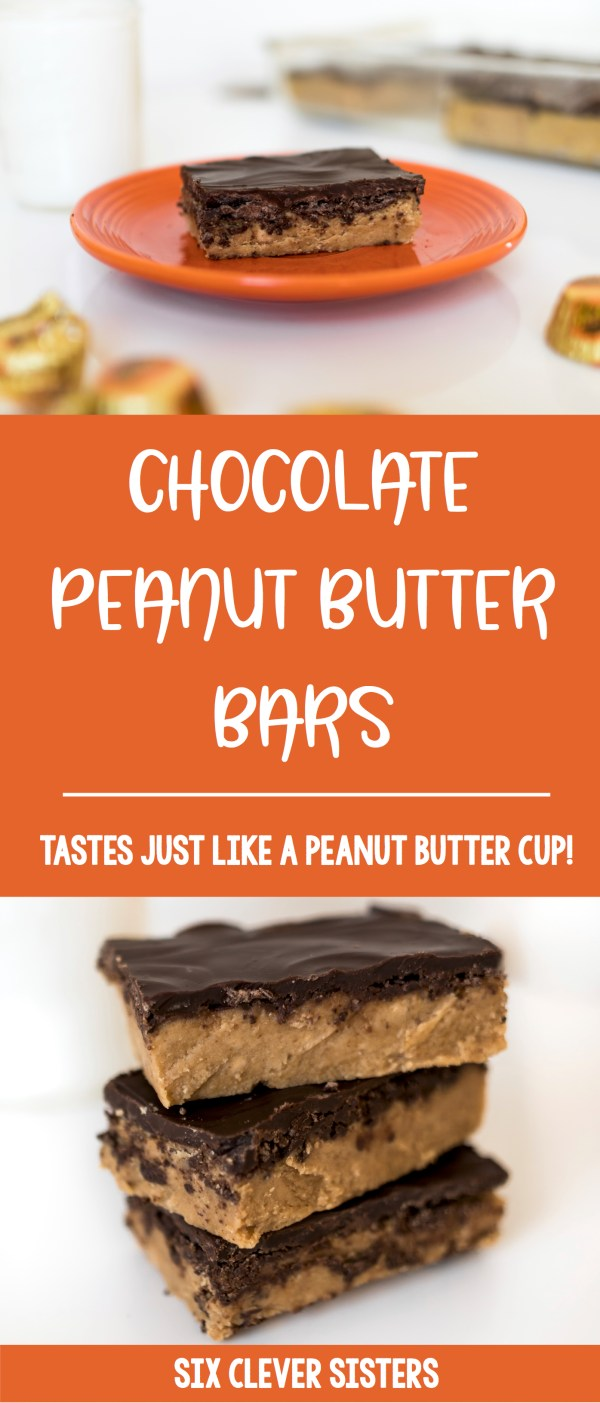 Reese's Bars Recipe | No Bake Dessert Recipe | No Bake Dessert Bars | Reese Cup Bar Recipe | Reese's Dessert Bars Recipe | Reese's Peanut Butter Bars Recipe No Bake | Recipe for Reese's Bars | Reese's Peanut Butter Bars Recipe | Homemade Reese's Bars Recipe | Love a Reese peanut butter cup? You'll love our no-bake, homemade chocolate peanut butter bar recipe that uses just 5 ingredients and can be made in 5 minutes! It tastes just like a Reese peanut butter cup! #pb #peanutbutter #peanutbutterdesserts #recipe #reesesdessert #nobakedesserts #chocolate #sixcleversisters
