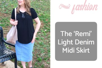 Modest Fashion | Denim Skirt | Modest Skirt | Inheritco | Modest Clothing | Modest Fashion Blogger | Share Inheritco | Summer Fashion | Mom Fashion | Modesty | Light Denim Skirt | Six Clever Sisters