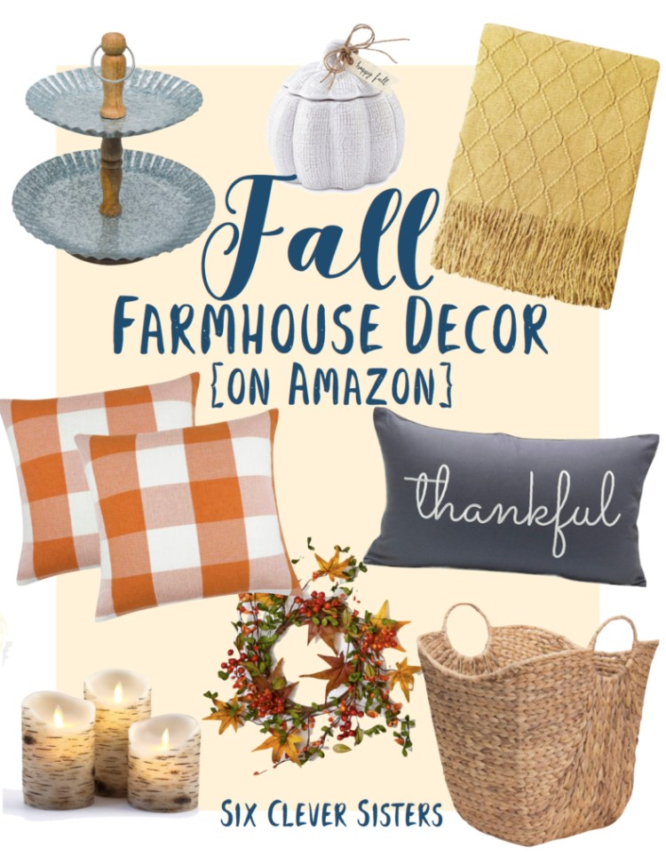 Fall | Farmhouse | Decor | Fall Decor | Home | Home Decor | Fall 2019 | Holidays | Decorating | Fall Farmhouse | Rustic | Autumn Decor | Thanksgiving | Thanksgiving Decorating | Halloween | Amazon | Amazon Finds | Fall Amazon | Six Clever Sisters