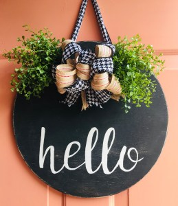 DIY Front Door Hello Sign | Wood Sign | Wood Sign Tutorial | Hello Sign | Lettering | How to Make a Wood Sign | Fall | Autumn | Fall Decor | Winter 2019 | Buffalo Plaid | Burlap | Rustic | Farmhouse | Chic | Home | Home Decor | How to | Six Clever Sisters