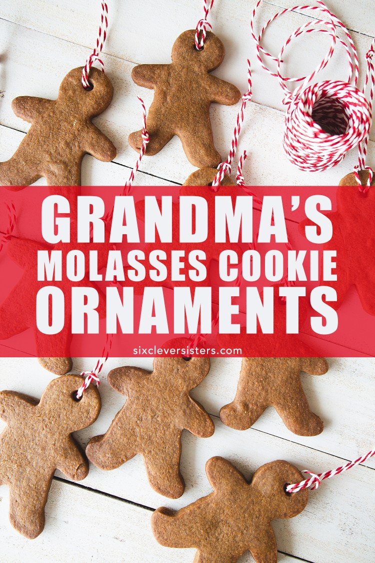 Cookie ornaments for the tree | Cookie ornaments recipe | Cookie ornaments edible | Cookie ornaments DIY | Cookie ornaments molasses | Recipe on the Six Clever Sisters blog!