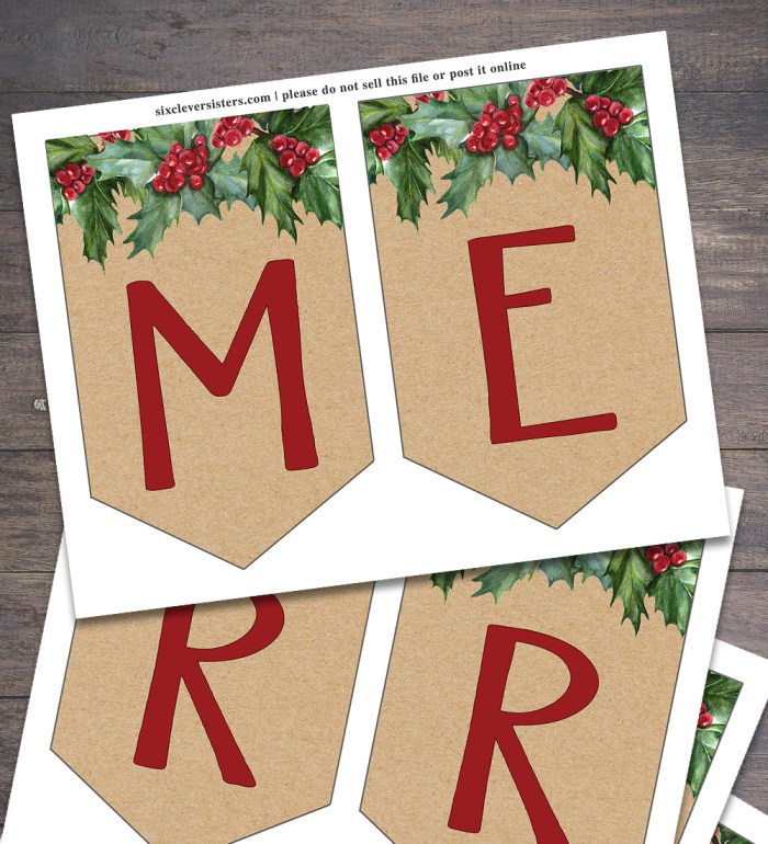 Free Printable Christmas Banner   Merry Christmas Banner Printable   Christmas Banner Printable Free   Printable Christmas Banner Free   Merry Christmas Banner Free Printable   Download on the Six Clever Sisters blog to decorate for the holidays!