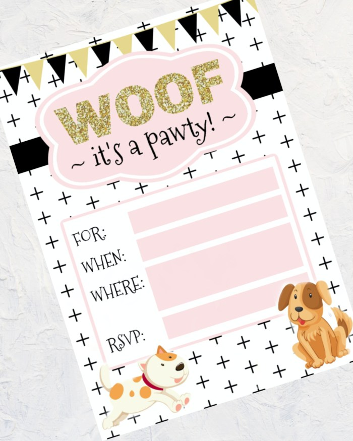 Free Printable Birthday Invitation | Free Printable | Happy Birthday | DIY Invitation | Birthday Party Puppy | Printable Dog Invitation | Puppy First Birthday | Puppy Themed Party | Download this trendy birthday invitation to DIY for your next dog puppy party! On the Six Clever Sisters blog