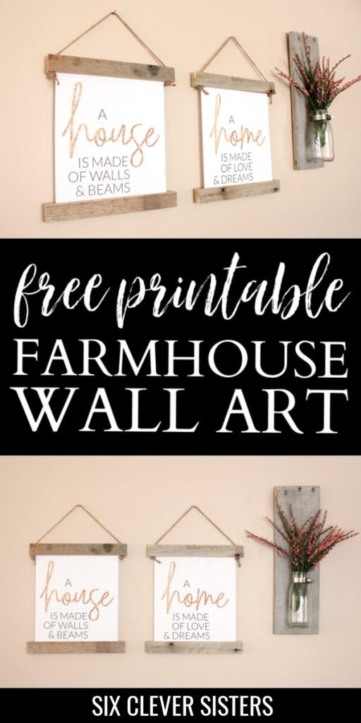 Free Printables for Home | Free Printable Wall Art | Free Printables Farmhouse | Farmhouse Decor | Farmhouse Bedroom | Free Printables | Six Clever Sisters