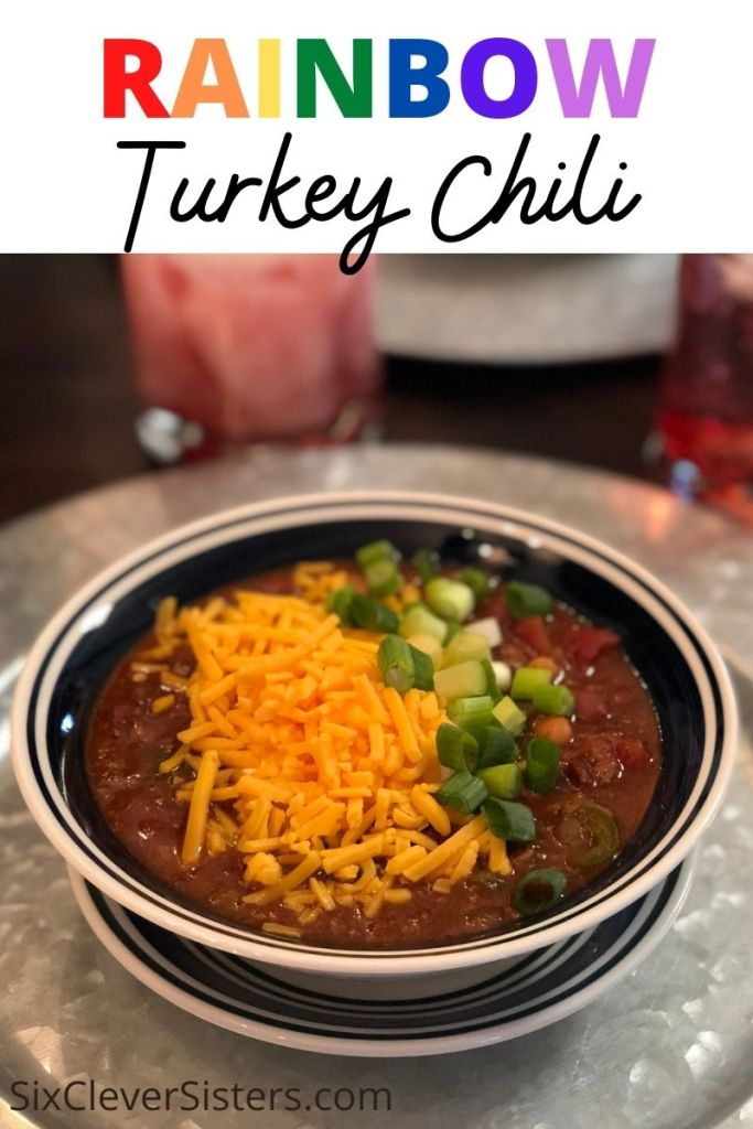 Turkey Chili | Easy Chili Recipe | Crockpot Recipe | Chili Recipe | Easy Chili Recipe | Rainbow Turkey Chili | This yummy and deep-flavored chili is sure to be a hit with anyone (and it has a crazy secret ingredient!) Find the recipe at SixCleverSisters.com