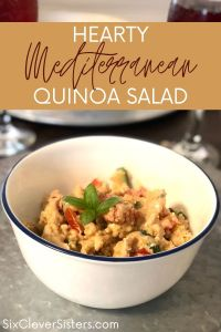 Mediterranean Quinoa Salad | Quinoa Bowl | Mediterranean Bowl | Quinoa Recipe | I love a hearty quinoa bowl and this creamy Mediterranean salad is a perfect blend of hearty and light and flavorful. Find the recipe at SixCleverSisters.com