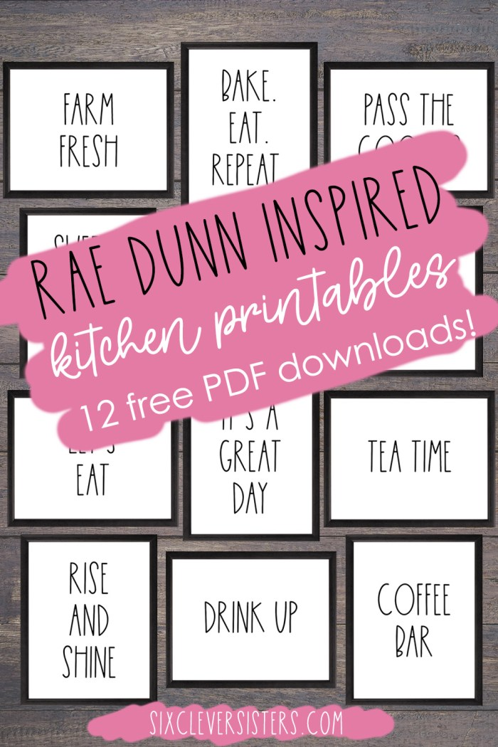 Rae Dunn Printables Free   Rae Dunn Kitchen   Rae Dunn Inspired Printables Free   Rae Dunn Kitchen Decor   Rae Dunn Kitchen Display   Download 12 free RAE DUNN INSPIRED KITCHEN SIGNS on the Six Clever Sisters blog!