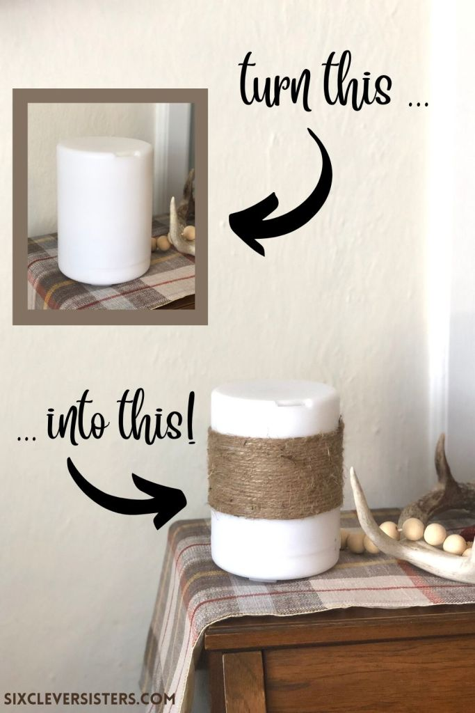 Essential Oil Diffuser | Oil Diffuser | Before and After DIY Diffuser | DIY Project | Diffuser Transformation | DIY Farmhouse Decor | I took my diffuser from a simple, plain white diffuser to something a little more farmhouse and cute! Find the tutorial at SixCleverSisters.com