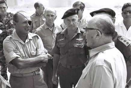 Gen Moshe Dayan (L) , Gen Haim Bar Lev & PM Levi Eshkol (R)