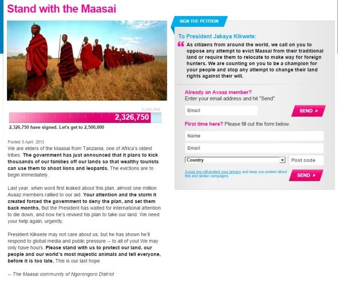 Masai_online_petition