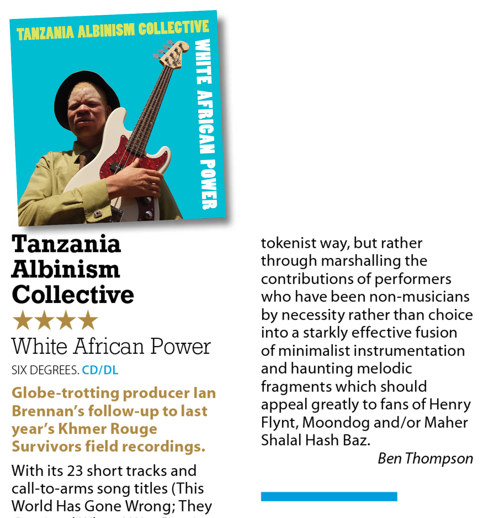 MOJO Magazine gives 4 stars to the Tanzania Albinism Collective album