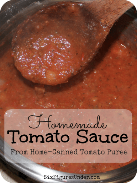 We use our home-canned tomato puree to make tomato sauce for spaghetti, for pizza, for lasagna, and more. We never buy spaghetti sauce from the store.