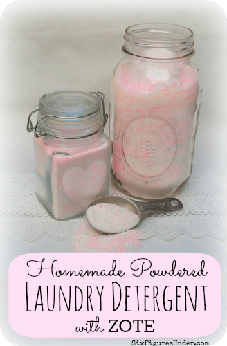 Make your own homemade powdered laundry detergent made from Zote Soap, Washing Soda, and Borax. Way cheaper than commercial detergent!