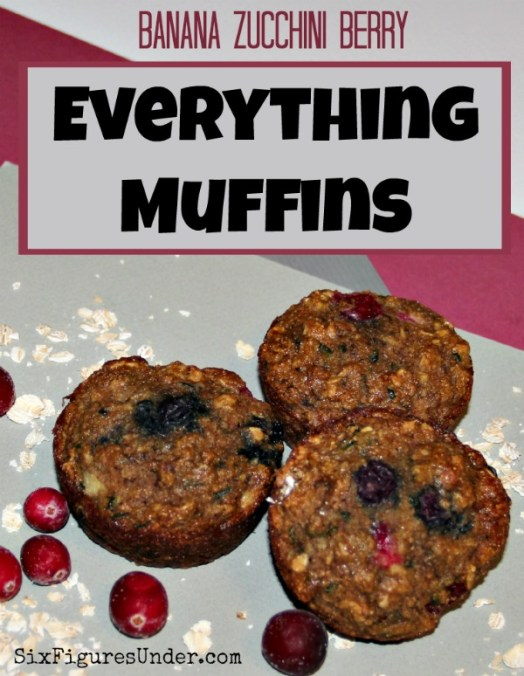 Banana Zucchini Berry Everything Muffins are packed full of healthy ingredients, but with a taste worthy to be called a treat. They are very versatile, so you can adapt the recipe to what you have on hand.