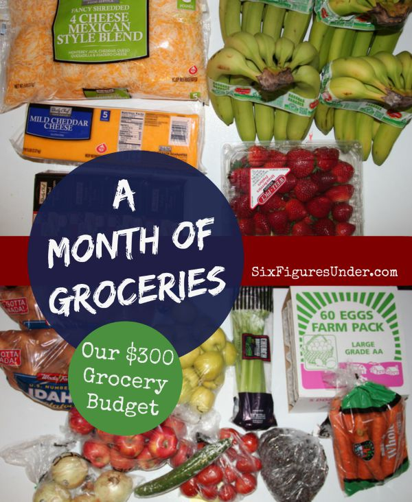 a month of groceries for the sixfiguresunder family six figures under