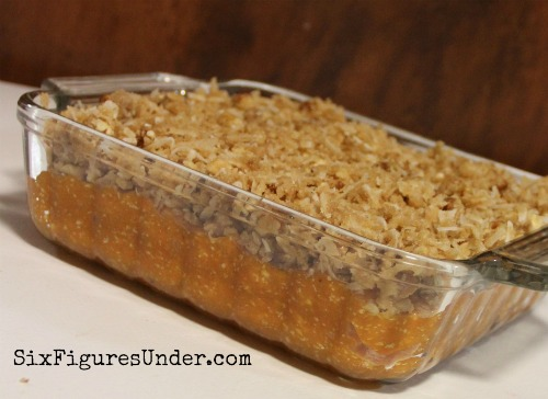 Sweet Potato Souffle-- Spread topping over sweet potato mixture.