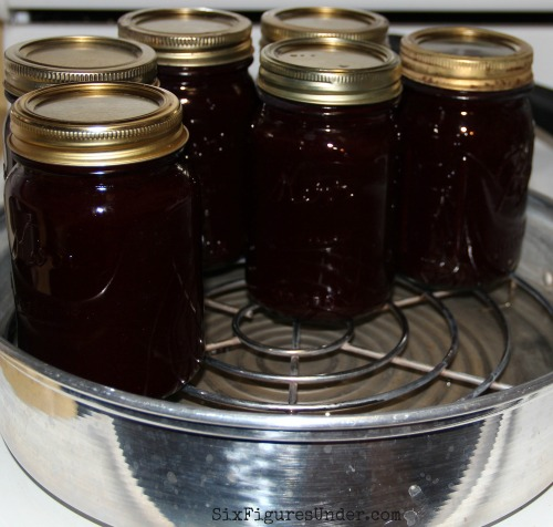 Use a steam canner or water bath canner to can your blackberry syrup.