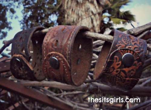 Leather Cuff Bracelet Upcycled Gift