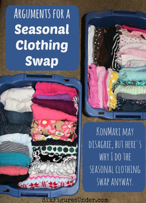 Why we swap out and reorganize our clothes every season and some tips to help you enjoy and make the most of your seasonal wardrobe change.  KonMari may disagree, but here's why I do the clothing swap anyway.
