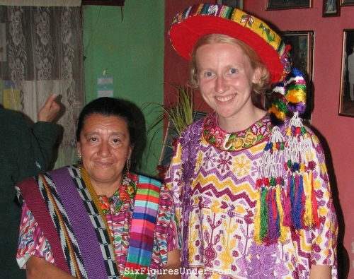 Trying on traditional clothing in Guatemala