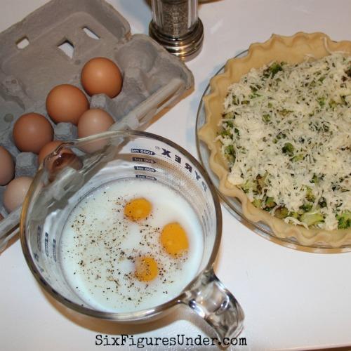 Beat eggs and milk before pouring into your quiche