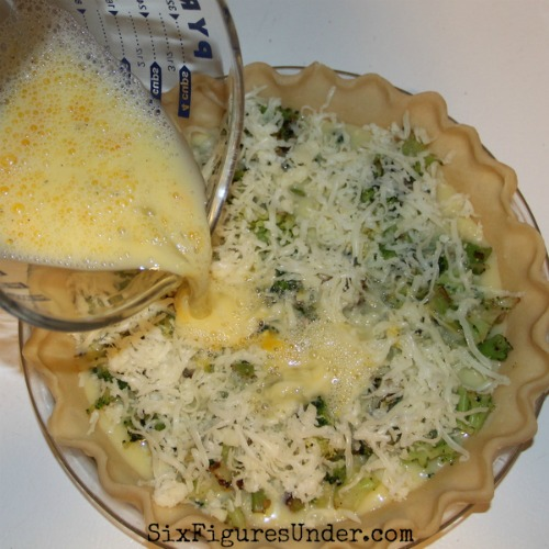 Pour the egg mixture over your broccoli to make quiche