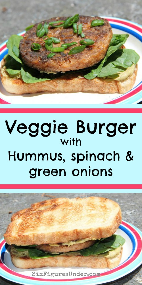 Spinach and artichoke hummus is the secret to this delicious veggie burger. With fresh spinach and green onions, you really can't go wrong