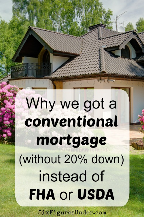 Trying to decide between a conventional mortgage, FHA, and USDA? Here are the factors that led us to choose a conventional mortgage with 5% down.