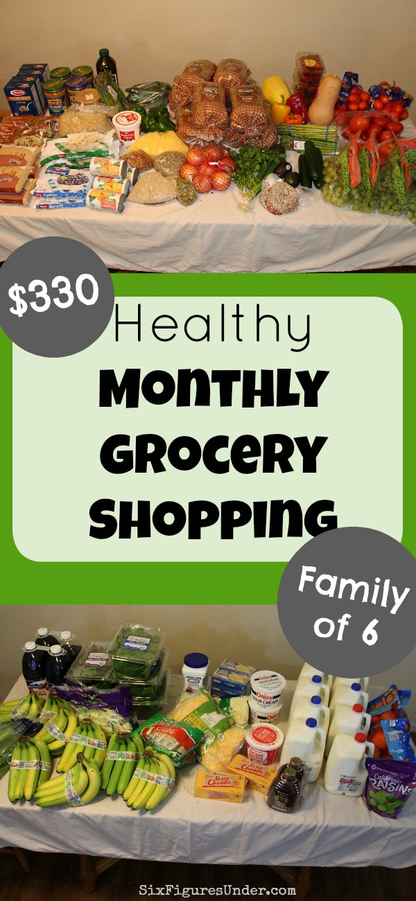 Curious what a family eats on a $300- $400 grocery budget? Here's a detailed list of our $330 monthly grocery shopping trip, including a price breakdown and video of everything we bought!