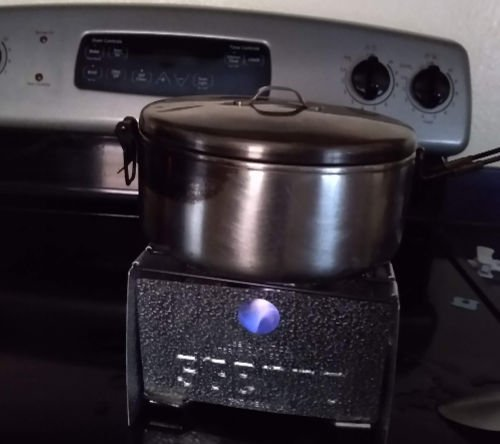 Cooking food on a sterno stove during power outage