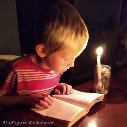 Reading by candlelight during a power outage