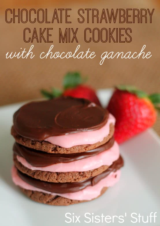 Chocolate Strawberry Cake Mix Cookies With Chocolate Ganache Six