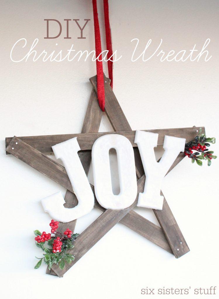 DIY Christmas Joy Wreath Six Sisters Stuff