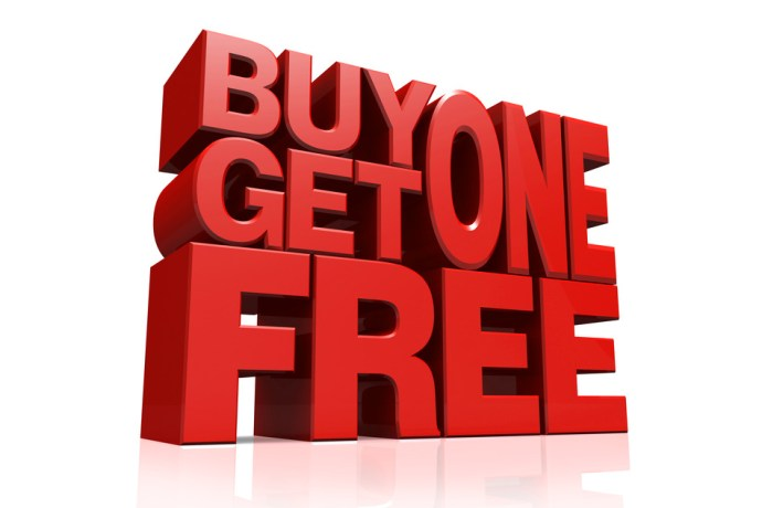 3D red text buy 1 get 1 free