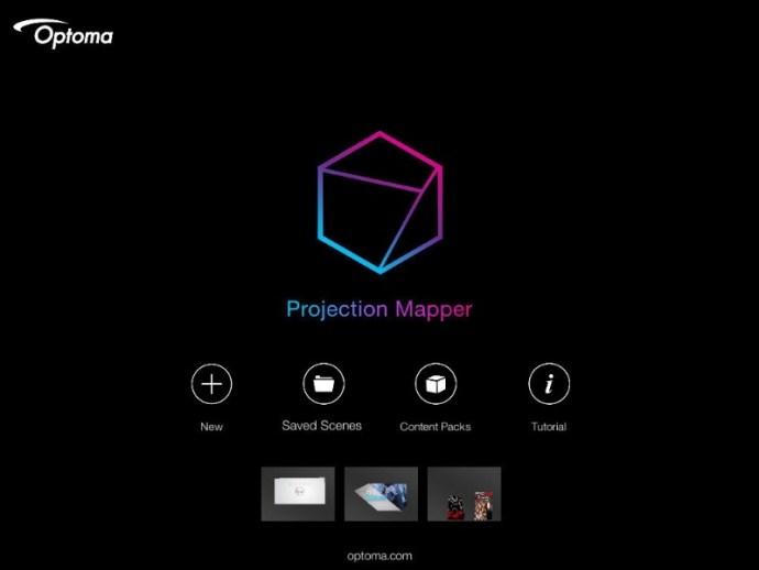 Optoma introduces Projection Mapper, the first mobile app to enable users to project images and video simultaneously onto multiple flat surfaces or three-dimensional objects to create artful entertainment displays in homes, yards, and more. (PRNewsFoto/Optoma Technology)