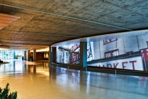 Starbucks Markets Seattle Office Space It Owns Using Vast Projection Wall In Lobby