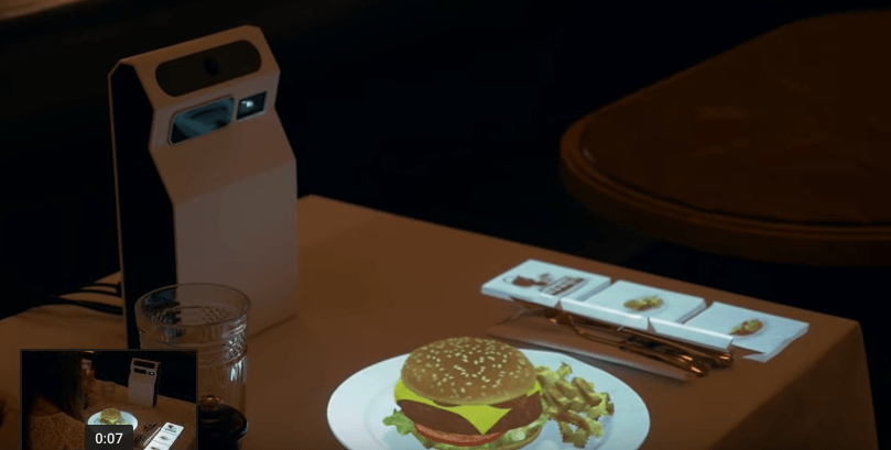 Video Interactive Restaurant Table Uses Portable Hologram