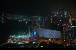 Chopper Hauls 300-Ft Projection-Mapped Screen Across Dubai Skyline