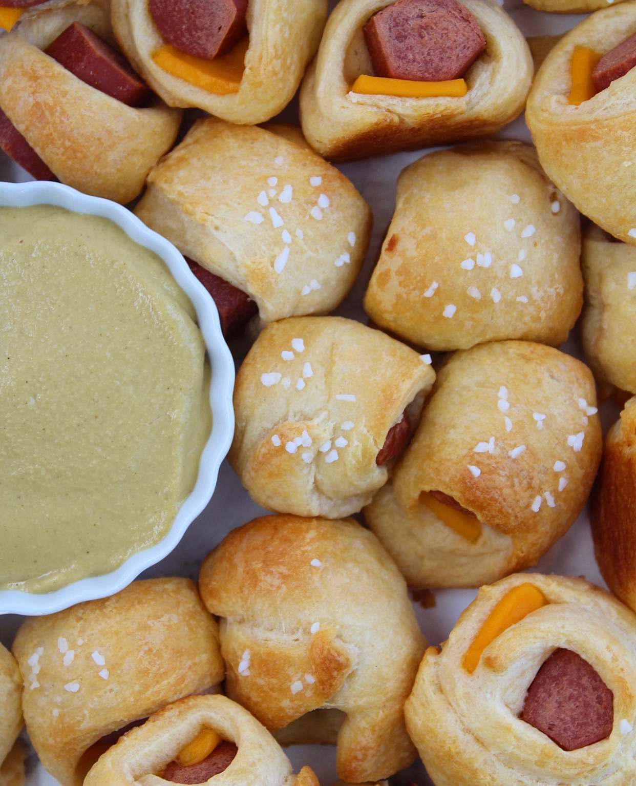 Cheesy Pretzel Pigs in a Blanket with Sweet Mustard