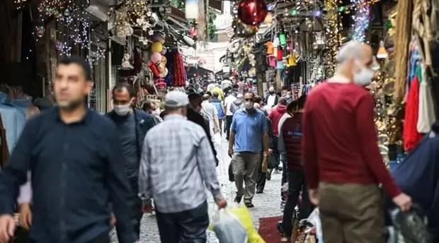 Pazar Alışveriş Korona maske halk