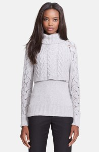 Crop layered turtleneck sweater