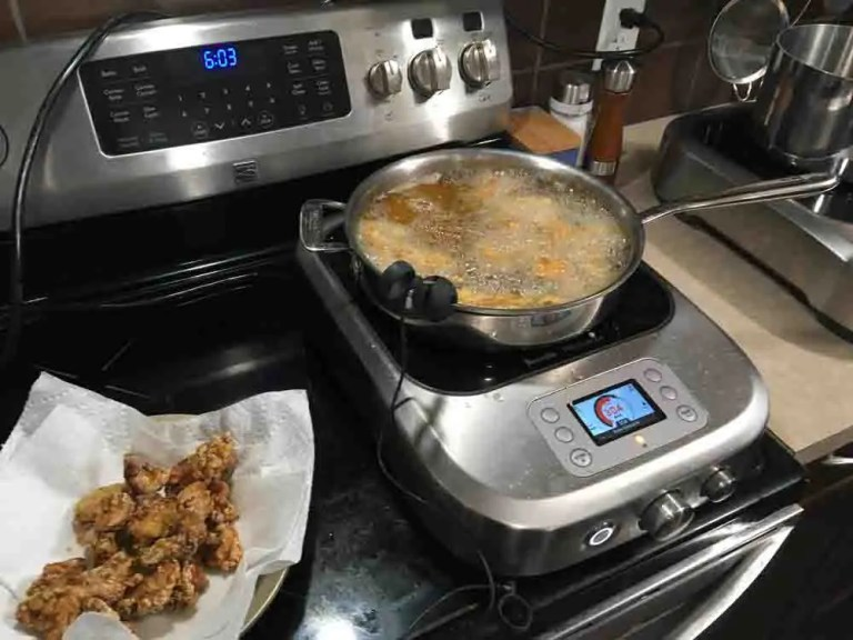 Deepfrying chicken for Chinese orange chicken on the Breville PolyScience Control Freak