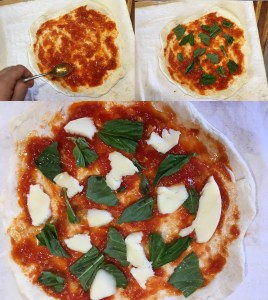 Assembling a Margherita pizza, step by step