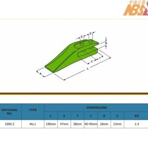 backhoe loader & excavator central tooth tip size