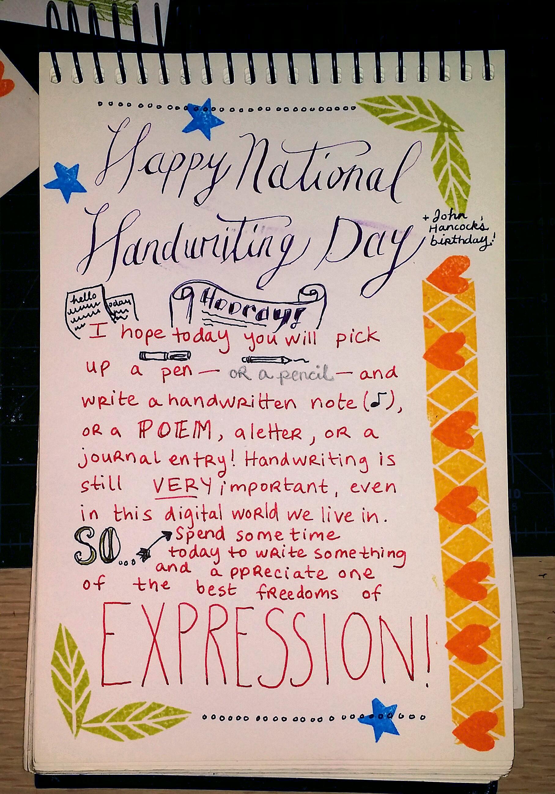 National Handwriting Day S Jane Mills