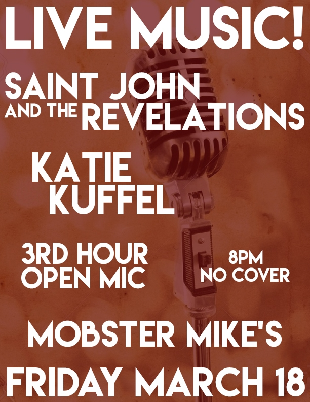 LIVE! Friday March 18 At Mobster Mike's W/Katie Kuffel